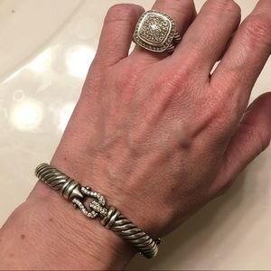 David Yurman 7mm Hinged Diamond Buckle bracelet
